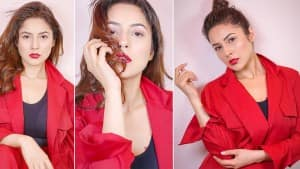 Shehnaaz Gill Drops Red Hot Images on Instagram After Doing Her Own Makeup For New Photoshoot   See Pics