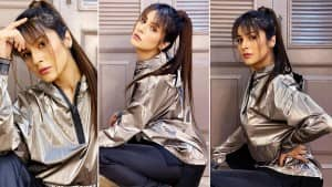 Shehnaaz Gill Looks Super Hot In This Metallic Hoodie- See Pictures