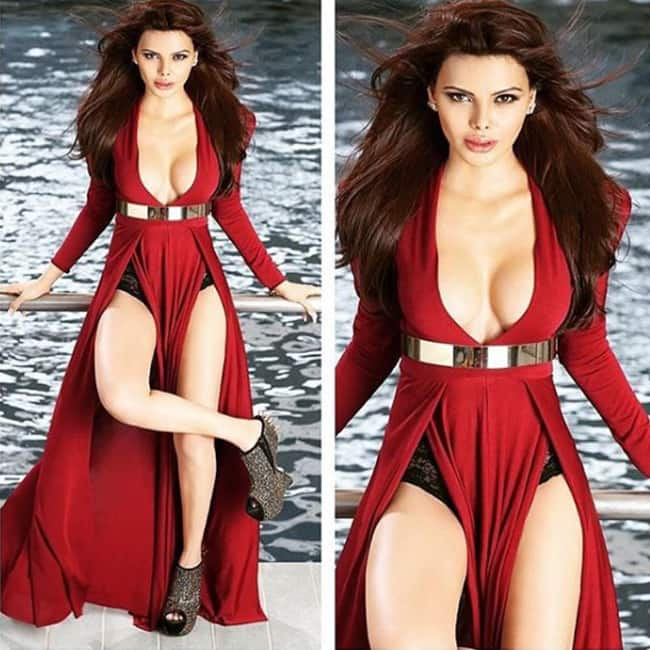 Sherlyn Chopra flaunting curves in red outfit