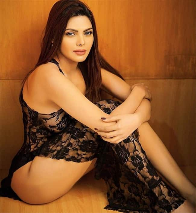 Sherlyn Chopra poses topless for a lingerie shoot
