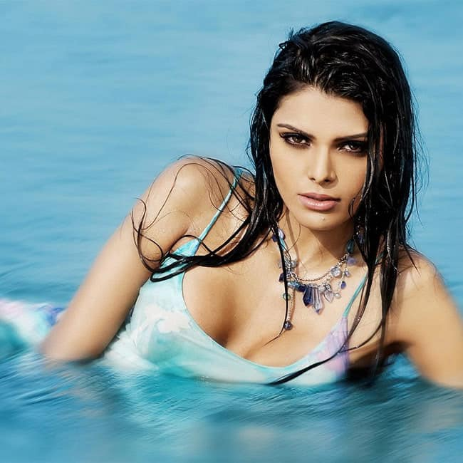 Sherlyn Chopra showing off her cleavage in scorching hot swimwear