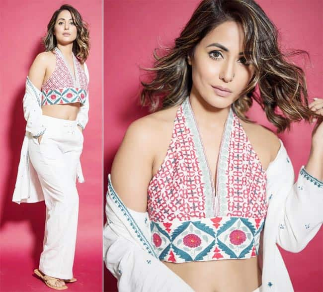 SherrKhan Hina Khan sparkled in white separates and embroidered bralette