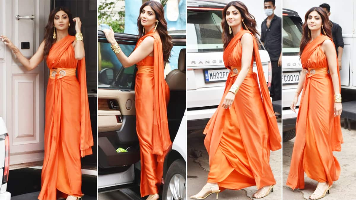 Shilpa Shetty goes bold and beautiful in an orange saree gown