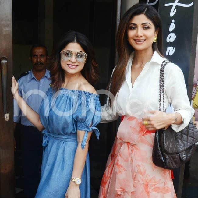 Shilpa Shetty grabs lunch with family