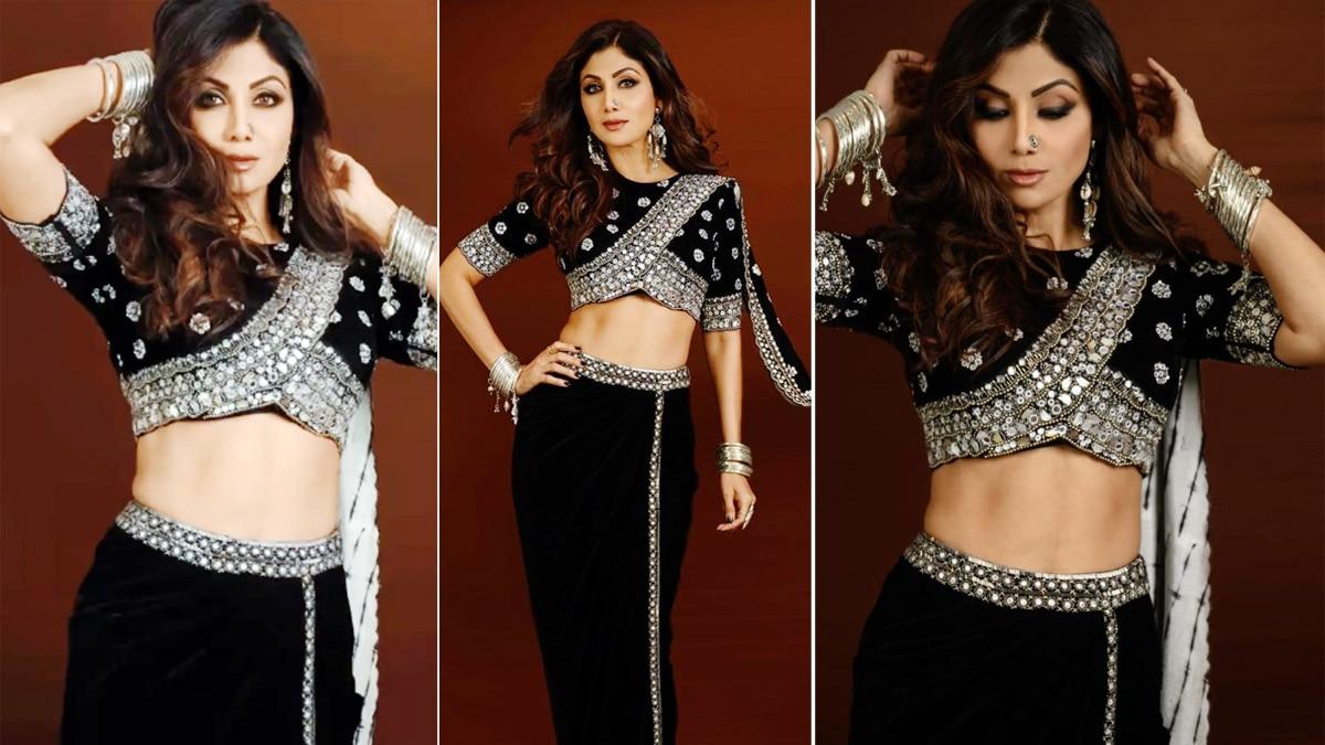 Shilpa Shetty Kundra Looks Exquisite in Pre Draped Embroidered Saree