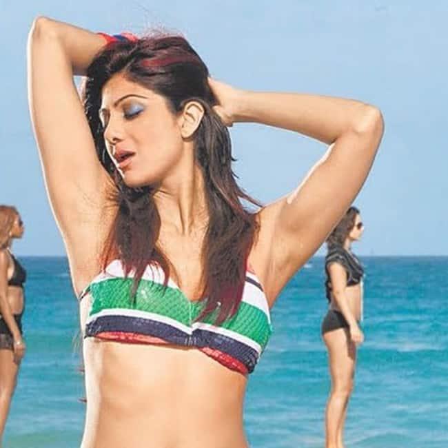 Shilpa Shetty Posing In Striped Bikini In Sexy Hd Picture