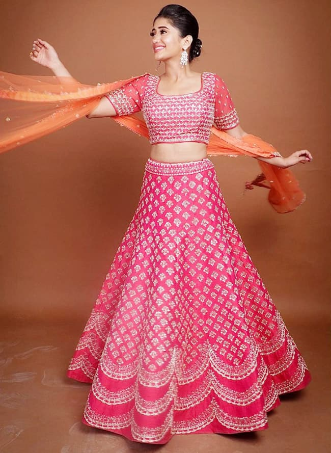 Shivangi Joshi looks ethereal in a pink lehenga with silver embroidery