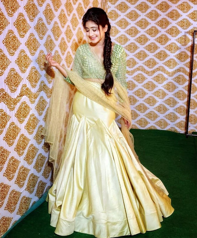 Shivangi Joshi Looks Ethereal in Green And Golden Lehenga For ITA Awards