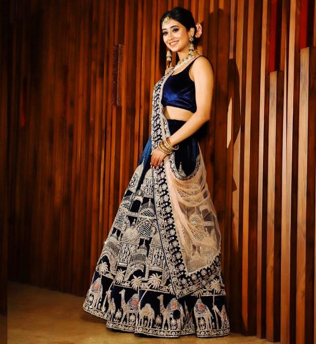 Shivangi Joshi looks stunning in a gorgeous velvet lehenga