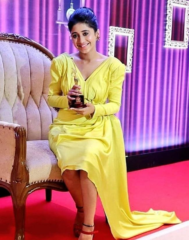 Shivangi Joshi Shines in Bright Yellow Dress at Stardust Awards 2019