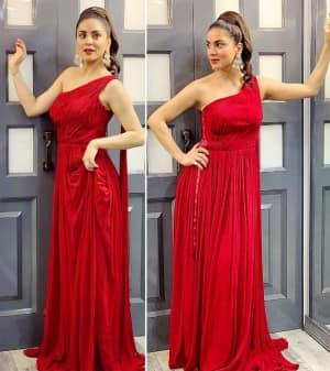 Shraddha Arya Looks Like A Vision in A Flowy One-shoulder Red Gown, See Photos