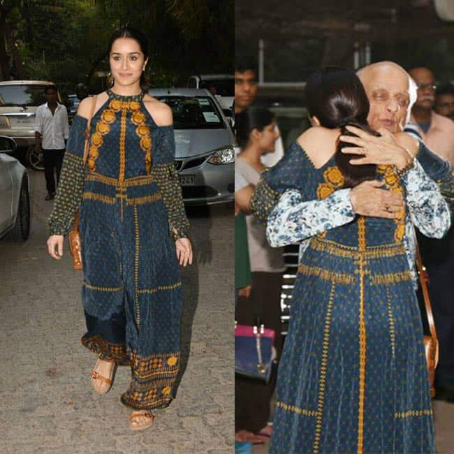 Shraddha Kapoor wishing Mukesh Bhatt at 30th anniversary of Vishesh films