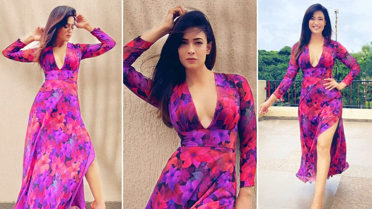 Shweta Tiwari is Here to Slay in a Floral Midi Outfit With Plunging Neckline