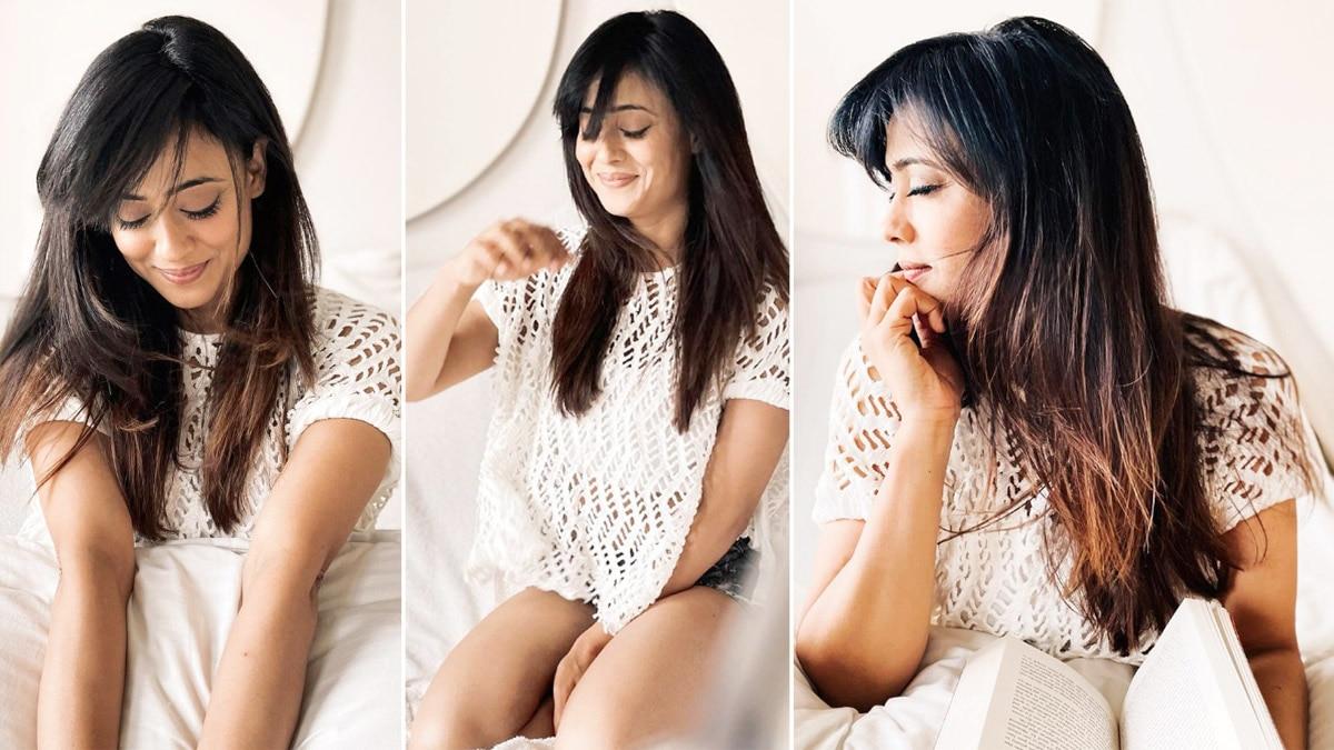 Shweta Tiwari Looks Sizzling Hot In Lace White Top And Denim Shorts