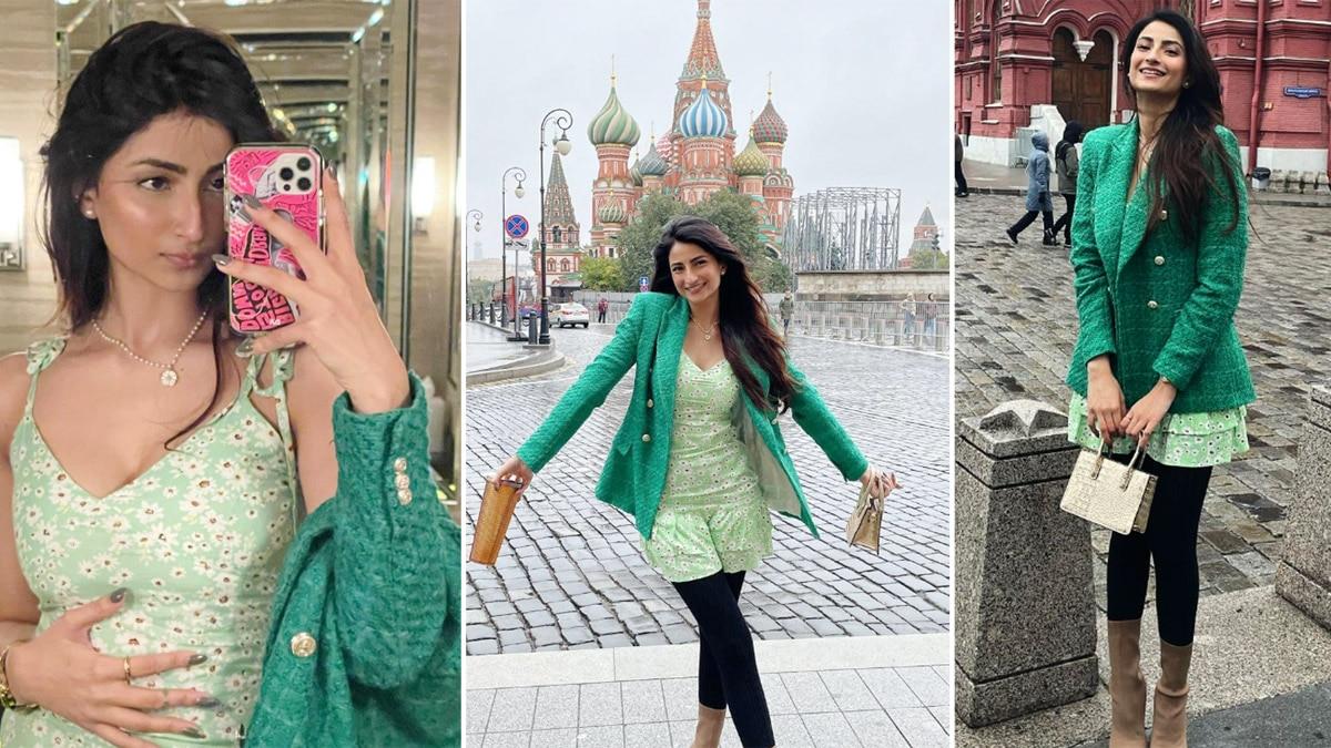 Shweta Tiwari   s daughter Palak looks pretty yet sexy as she roams in Russia