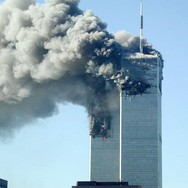 Smoke pours from the World Trade Center after 9 11 attack