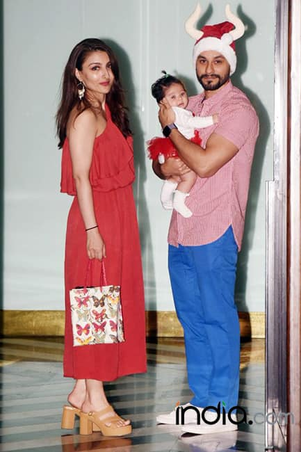 Soha Ali Khan with husband Kunal Khemmu and daughter Naomi at Arpita Khan   s Christmas bash