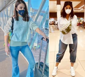 In PHOTOS: Soha Ali Khan-Parineeti Chopra Add Masks to Their Airport Look in Wake of Coronavirus