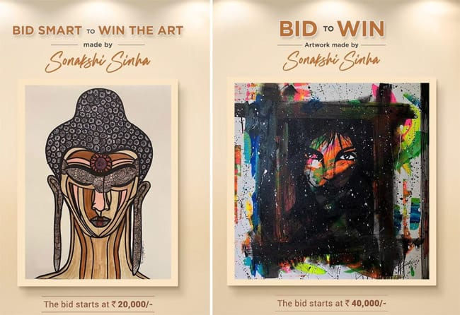 Sonakshi Sinha raises funds by auctioning some of the beautiful canvas paintings made by her