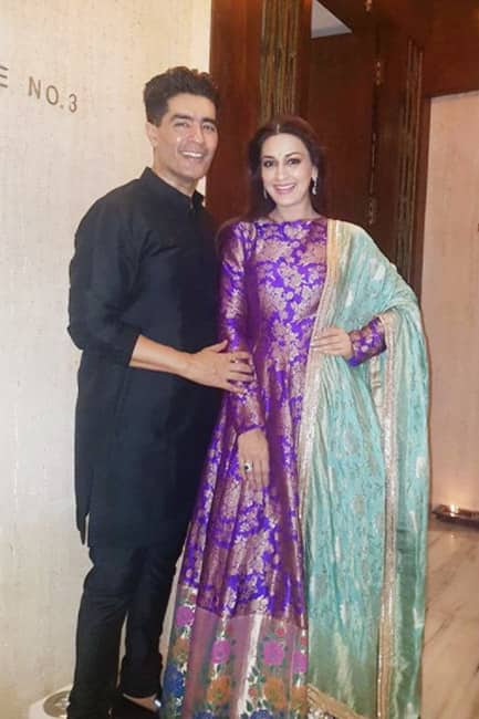 Sonali Bendre in purple brocade outfit