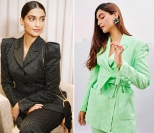 Sonam Kapoor Takes Fashion Quotient to Another Level in Black And Green Pantsuit, See Pictures