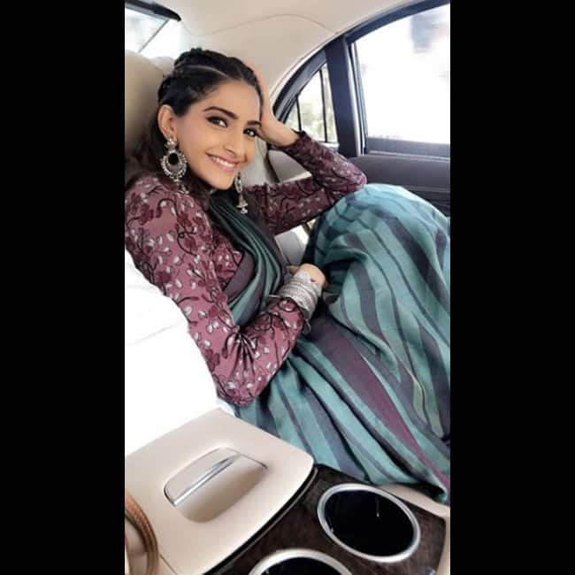 Sonam Kapoor in sari for Padman promotions