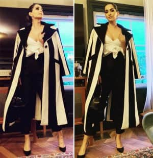 Sonam Kapoor All Dolled Up in A Monochrome Outfit for An Epic Girls Night Out