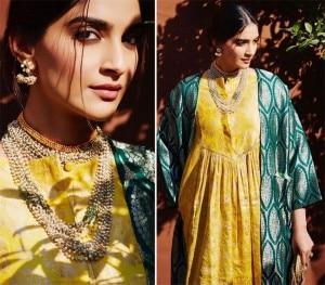 Sonam Kapoor Looks Her Elegant Best in Silk Brocade Yellow Kurti And Green Jacket
