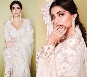 Sonam Kapoor Spends a 'Daisy Studded Night' at The Amazon Filmfare Awards in a Gorgeous Floral Saree