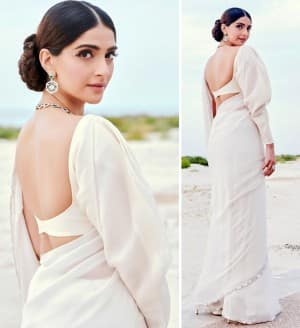 Sonam Kapoor Wears The Most Simple Manish Malhotra Saree And Looks Like a Vision in White