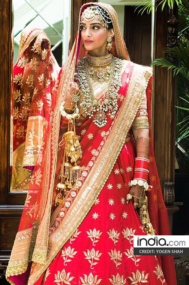 Sonam Kapoor   s in bridal lehenga for her wedding