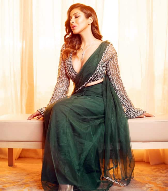 Sophie Choudry Sizzles in a Green Saree