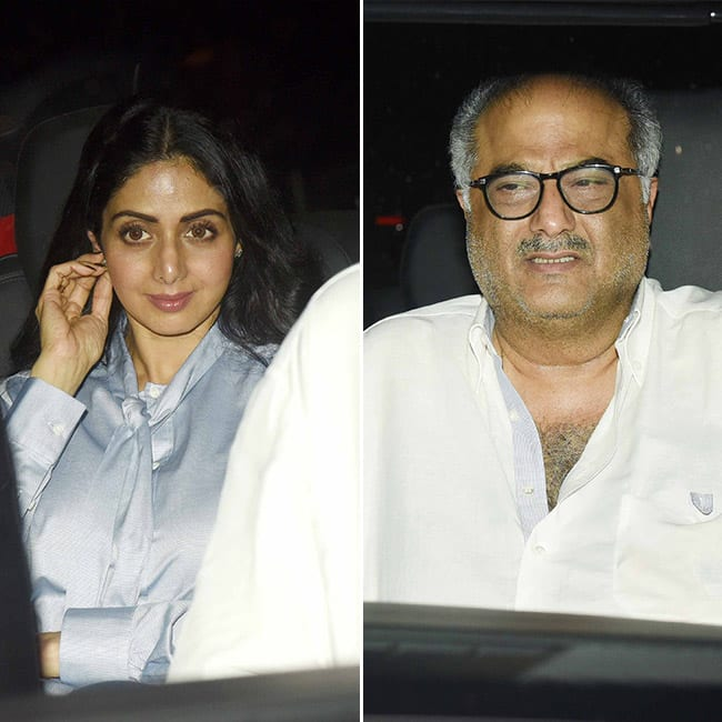 Sridevi Kapoor with husband Boney Kapoor at Mom   s screening