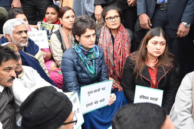 Stop Attacks on Young Students   Congress Sits in Silent Protest With Anti CAA Slogans
