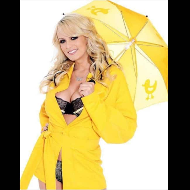 Stormy Daniels posing for a shoot