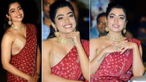 Sulthan Movie Actor Rashmika Mandanna is Red-Hot Wearing a Red Saree With A Strappy Blouse| View Photos