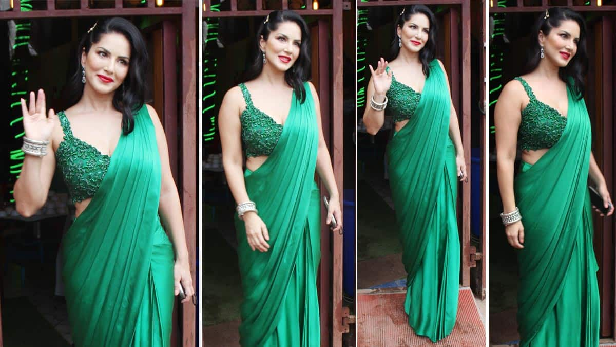 Sunny Leone Goes Sultry In Sexy Green Saree