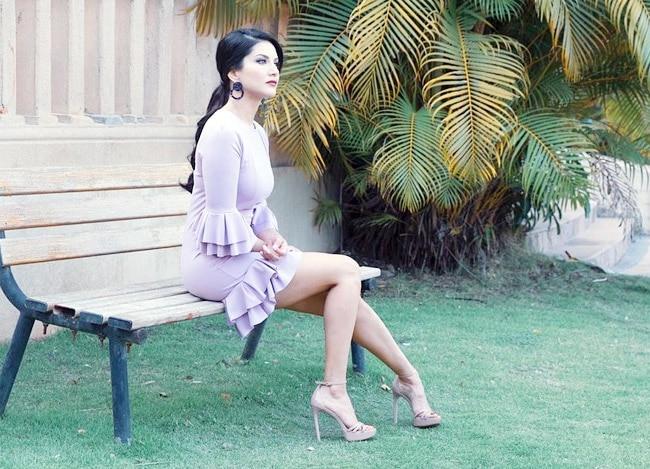 Sunny Leone in Purple Little Dress