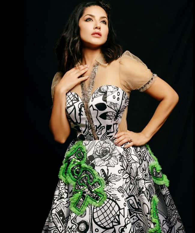 Sunny Leone Looks Drop dead Gorgeous in Monochrome Gown
