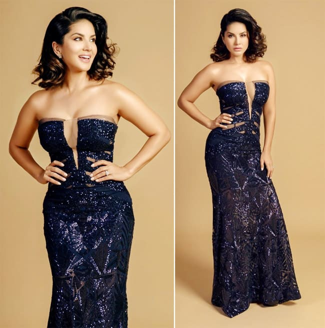 Sunny Leone Looks Smoking Hot in Shimmery Blue Dress at Filmfare Awards