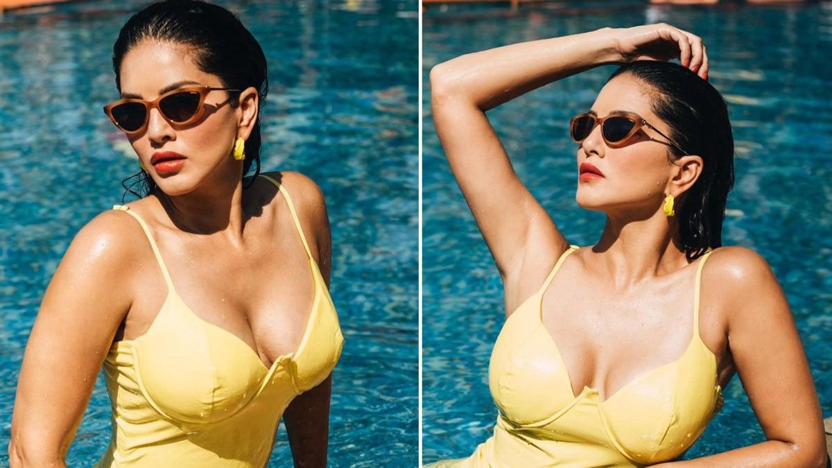 Sunny Leone Looks Smoking Hot in Yellow Bikini as She Takes a Dip In The Poll