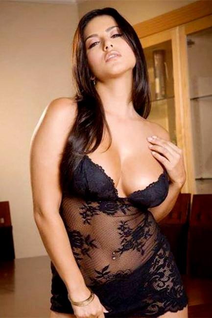 Sunny Leone poses in hot black nightwear