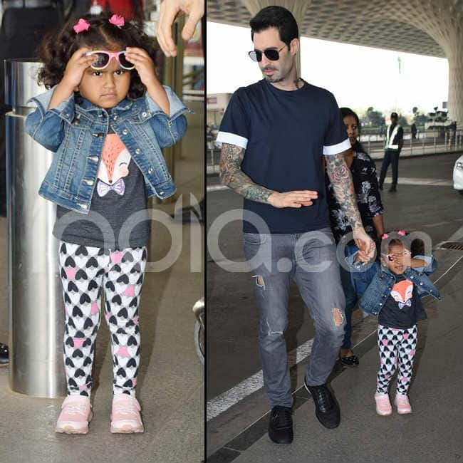 Sunny Leone s daughter gets clicked at airport