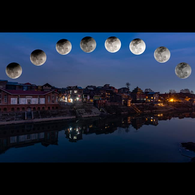 Super Blue Blood Moon view from Kashmir in India