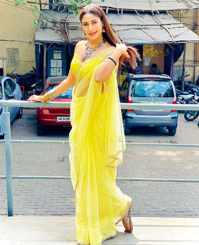 Surbhi Chandna Goes Sheer And Sexy in Her Yellow Saree For Naagin 5