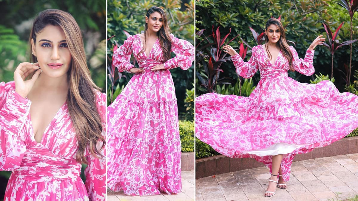 Surbhi Chandna looks hot and sexy in floral pink gorgeous dress