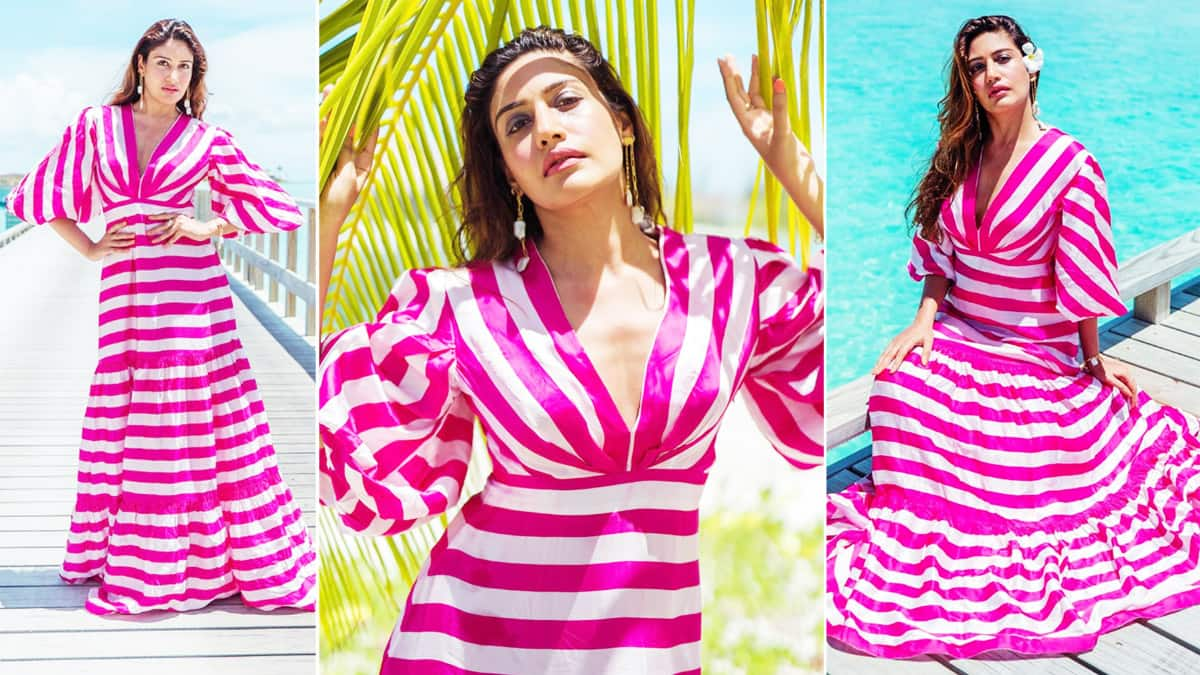 Surbhi Chandna Looks Smoking Hot in a fuschia pink and white striped gathered maxi dress worth Rs 18 000