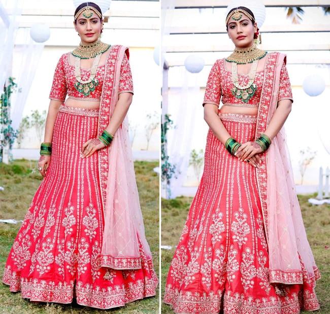 Surbhi Chandna Wearing Embellished Red Lehenga