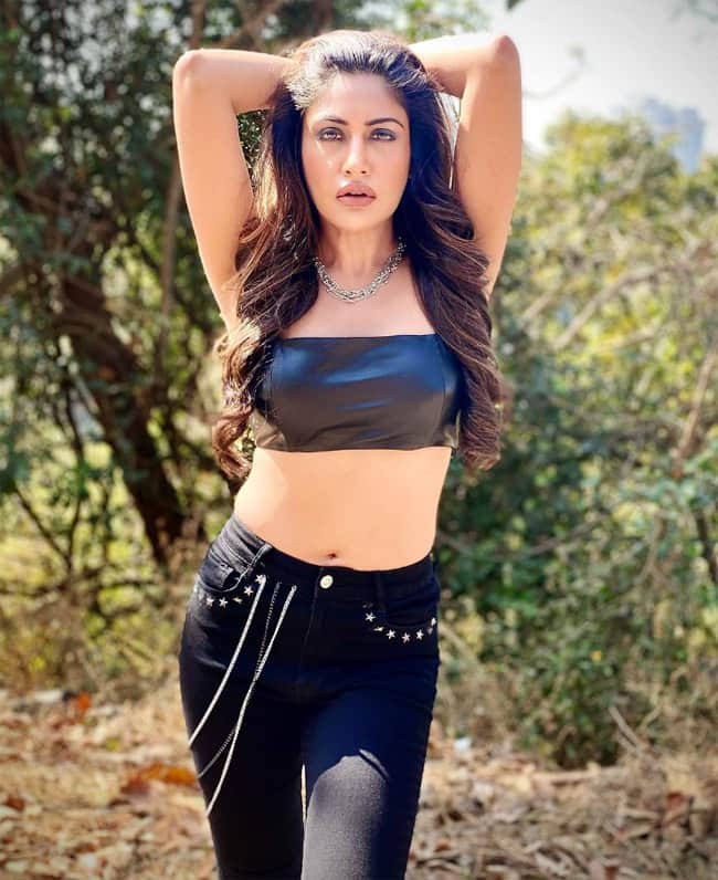 Surbhi Chandna wears a sexy black bralette with black jeans