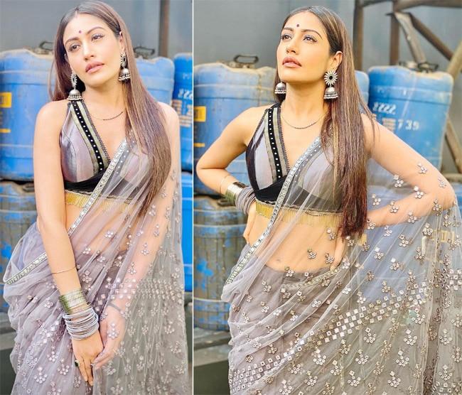 Surbhi Chandna wears a sheer grey saree